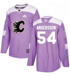 Mens Adidas Calgary Flames 54 Rasmus Andersson Authentic Purple Fights Cancer Practice NHL Jersey