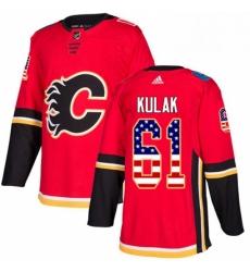 Mens Adidas Calgary Flames 61 Brett Kulak Authentic Red USA Flag Fashion NHL Jersey
