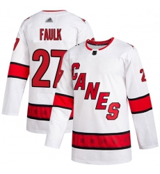 Hurricanes 27 Justin Faulk White Road Authentic Stitched Hockey Jersey