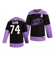 Hurricanes 74 Jaccob Slavin Black Purple Hockey Fights Cancer Adidas Jersey