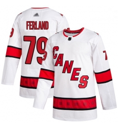 Hurricanes 79 Michael Ferland White Road Authentic Stitched Hockey Jersey