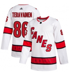 Hurricanes 86 Teuvo Teravainen White Road Authentic Stitched Hockey Jersey