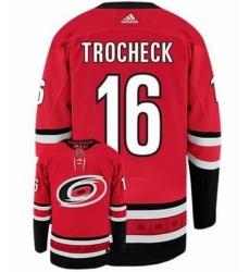 Men Carolina Hurricanes 16 Vincent Trocheck Red Adidas Jersey