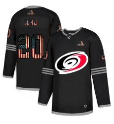 Men Carolina Hurricanes 20 Sebastian Aho Black USA Flag Fashion Adidas Jersey
