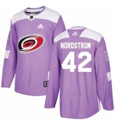 Mens Adidas Carolina Hurricanes 42 Joakim Nordstrom Authentic Purple Fights Cancer Practice NHL Jersey