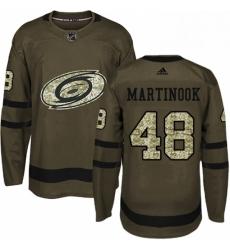 Mens Adidas Carolina Hurricanes 48 Jordan Martinook Authentic Green Salute to Service NHL Jersey