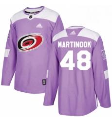 Mens Adidas Carolina Hurricanes 48 Jordan Martinook Authentic Purple Fights Cancer Practice NHL Jersey