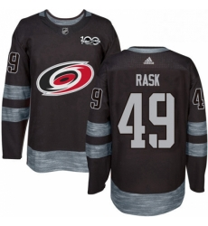 Mens Adidas Carolina Hurricanes 49 Victor Rask Authentic Black 1917 2017 100th Anniversary NHL Jersey