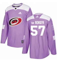 Mens Adidas Carolina Hurricanes 57 Trevor Van Riemsdyk Authentic Purple Fights Cancer Practice NHL Jersey