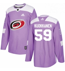 Mens Adidas Carolina Hurricanes 59 Janne Kuokkanen Authentic Purple Fights Cancer Practice NHL Jersey