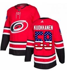 Mens Adidas Carolina Hurricanes 59 Janne Kuokkanen Authentic Red USA Flag Fashion NHL Jersey
