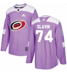 Mens Adidas Carolina Hurricanes 74 Jaccob Slavin Authentic Purple Fights Cancer Practice NHL Jersey