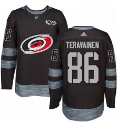 Mens Adidas Carolina Hurricanes 86 Teuvo Teravainen Premier Black 1917 2017 100th Anniversary NHL Jersey