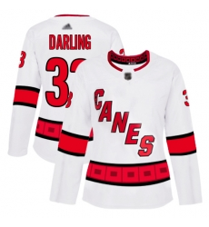 Women Hurricanes 33 Scott Darling White Road Authentic Stitched Hockey Jersey