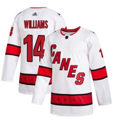 Youth Hurricanes 14 Justin Williams White Road Authentic Stitched Hockey Jersey