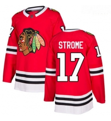 Blackhawks #17 Dylan Strome Red Home Authentic Stitched Hockey Jersey