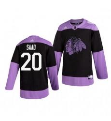 Blackhawks 20 Brandon Saad Black Purple Hockey Fights Cancer Adidas Jersey