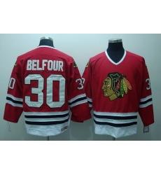 Blackhawks #30 ED Belfour Stitched Red CCM Throwback NHL Jersey