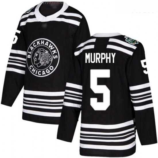 Blackhawks #5 Connor Murphy Black Authentic 2019 Winter Classic Stitched Hockey Jersey