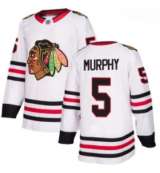 Blackhawks #5 Connor Murphy White Road Authentic Stitched Hockey Jersey