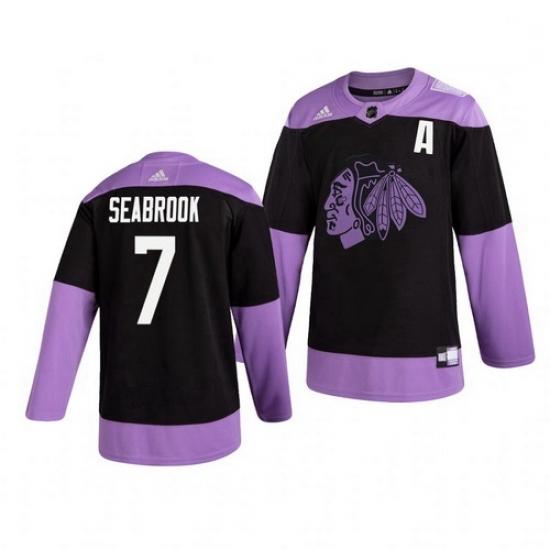 Blackhawks 7 Brent Seabrook Black Purple Hockey Fights Cancer Adidas Jersey