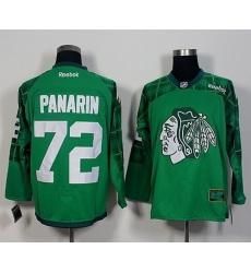 Blackhawks #72 Artemi Panarin Green St  Patricks Day New Stitched NHL Jersey