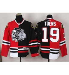 Chicago Blackhawks 19 Jonathan Toews White Skull Logo Fashion Black Red Split NHL Jerseys