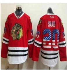Chicago Blackhawks #20 Brandon Saad Red USA Flag Fashion Stitched NHL Jersey