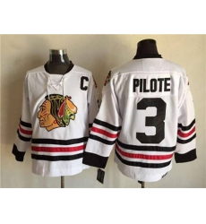 Chicago Blackhawks #3 Pierre Pilote White CCM Throwback Stitched NHL Jersey