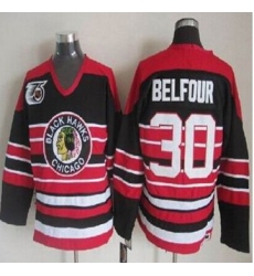 Chicago Blackhawks #30 ED Belfour Red Black 75TH CCM Stitched NHL Jersey