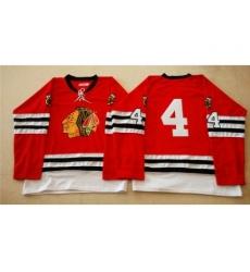 Chicago Blackhawks #4 Niklas Hjalmarsson Red Mitchell And Ness 1960-61 Stitched NHL Jersey