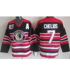 Chicago Blackhawks 7 Chris Chelios Black 75th Throwback CCM NHL Jerseys