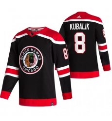 Men Chicago Blackhawks 8 Dominik Kubalik Black Adidas 2020 21 Reverse Retro Alternate NHL Jersey