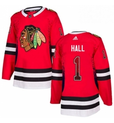 Mens Adidas Chicago Blackhawks 1 Glenn Hall Authentic Red Drift Fashion NHL Jersey