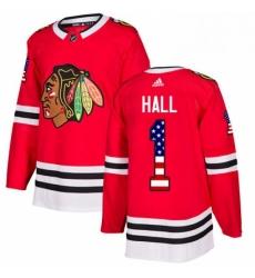 Mens Adidas Chicago Blackhawks 1 Glenn Hall Authentic Red USA Flag Fashion NHL Jersey