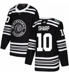 Mens Adidas Chicago Blackhawks 10 Patrick Sharp Authentic Black 2019 Winter Classic NHL Jersey