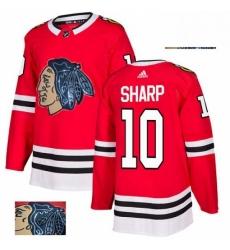 Mens Adidas Chicago Blackhawks 10 Patrick Sharp Authentic Red Fashion Gold NHL Jersey