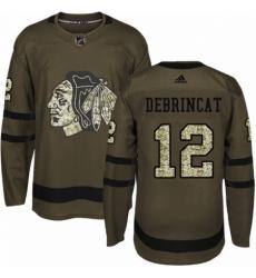 Men's Adidas Chicago Blackhawks #12 Alex DeBrincat Authentic Green Salute to Service NHL Jersey