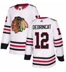 Men's Adidas Chicago Blackhawks #12 Alex DeBrincat Authentic White Away NHL Jersey