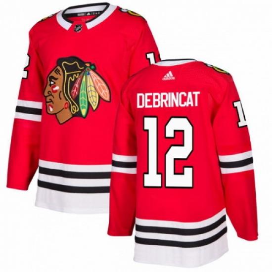 Men's Adidas Chicago Blackhawks #12 Alex DeBrincat Premier Red Home NHL Jersey