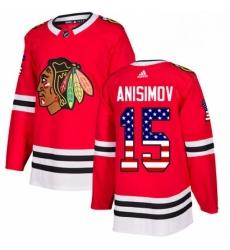 Mens Adidas Chicago Blackhawks 15 Artem Anisimov Authentic Red USA Flag Fashion NHL Jersey
