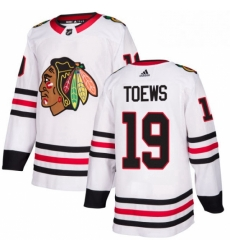 Mens Adidas Chicago Blackhawks 19 Jonathan Toews Authentic White Away NHL Jersey