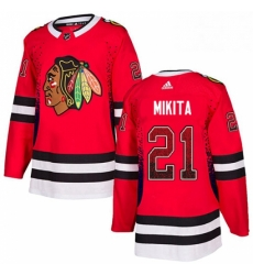Mens Adidas Chicago Blackhawks 21 Stan Mikita Authentic Red Drift Fashion NHL Jersey