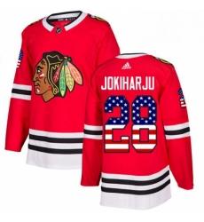 Mens Adidas Chicago Blackhawks 28 Henri Jokiharju Authentic Red USA Flag Fashion NHL Jersey