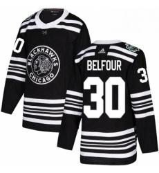 Mens Adidas Chicago Blackhawks 30 ED Belfour Authentic Black 2019 Winter Classic NHL Jersey