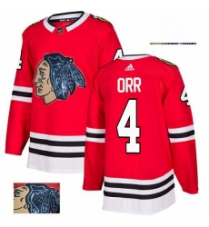 Mens Adidas Chicago Blackhawks 4 Bobby Orr Authentic Red Fashion Gold NHL Jersey