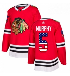 Mens Adidas Chicago Blackhawks 5 Connor Murphy Authentic Red USA Flag Fashion NHL Jersey