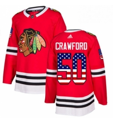 Mens Adidas Chicago Blackhawks 50 Corey Crawford Authentic Red USA Flag Fashion NHL Jersey