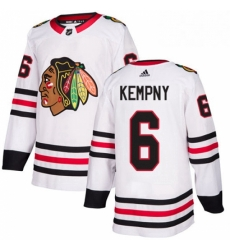 Mens Adidas Chicago Blackhawks 6 Michal Kempny Authentic White Away NHL Jersey