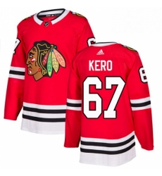 Mens Adidas Chicago Blackhawks 67 Tanner Kero Authentic Red Home NHL Jersey